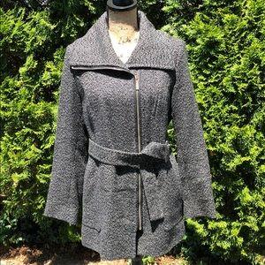 Michael Kors black and white winter trench coat
